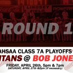 ROUND 1 PLAYOFFS FOR GCHS TITAN BASEBALL