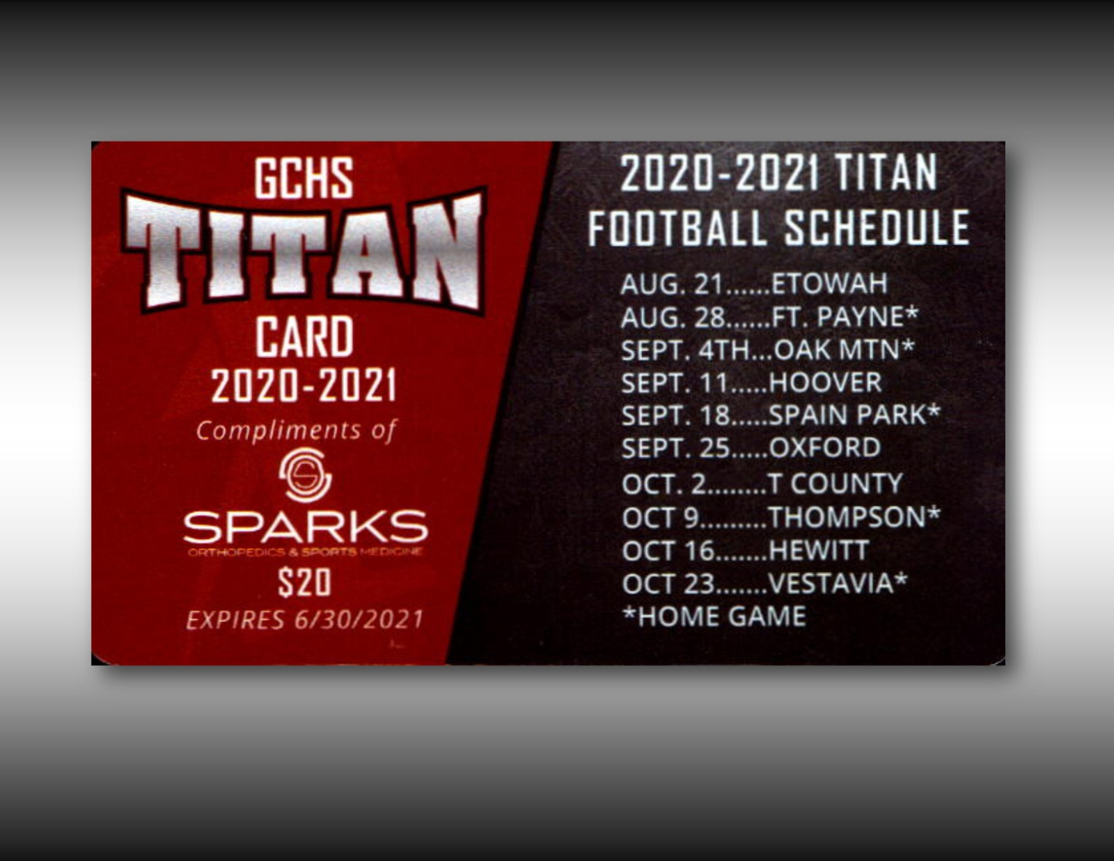 TITAN DISCOUNT CARDS ON SALE NOW !!!
