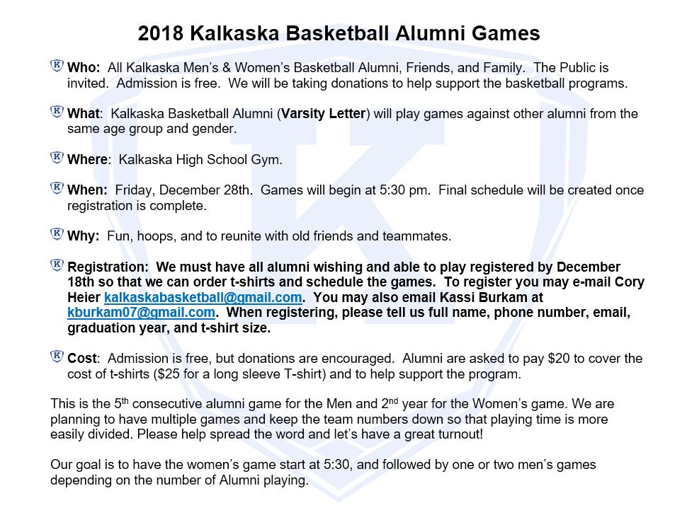 Kalkaska Basketball Aumni Game Details