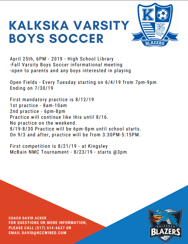 Boys Soccer Informational Meeting – April 25th at 6:00 PM