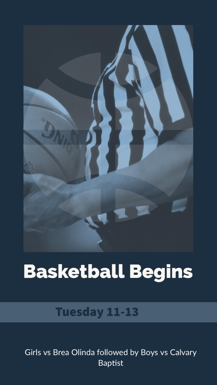 Basketball Season Begins Tuesday 11-13 with Home Games