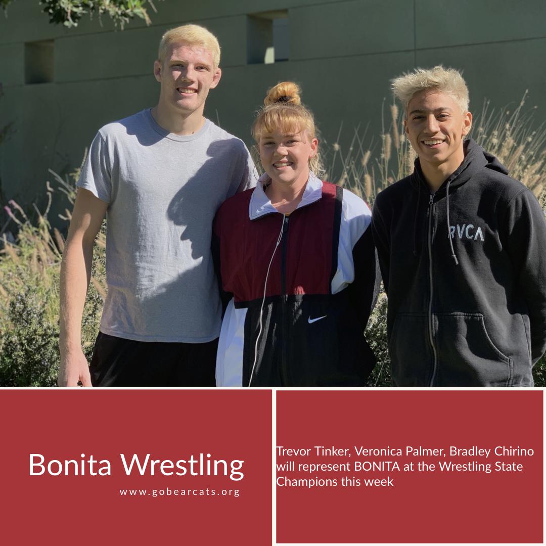 Tinker, Palmer and Chirino to Represent Bonita at CIF State Championships