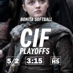CIF Softball Today at Canyon High School Anaheim – 3:15 pm