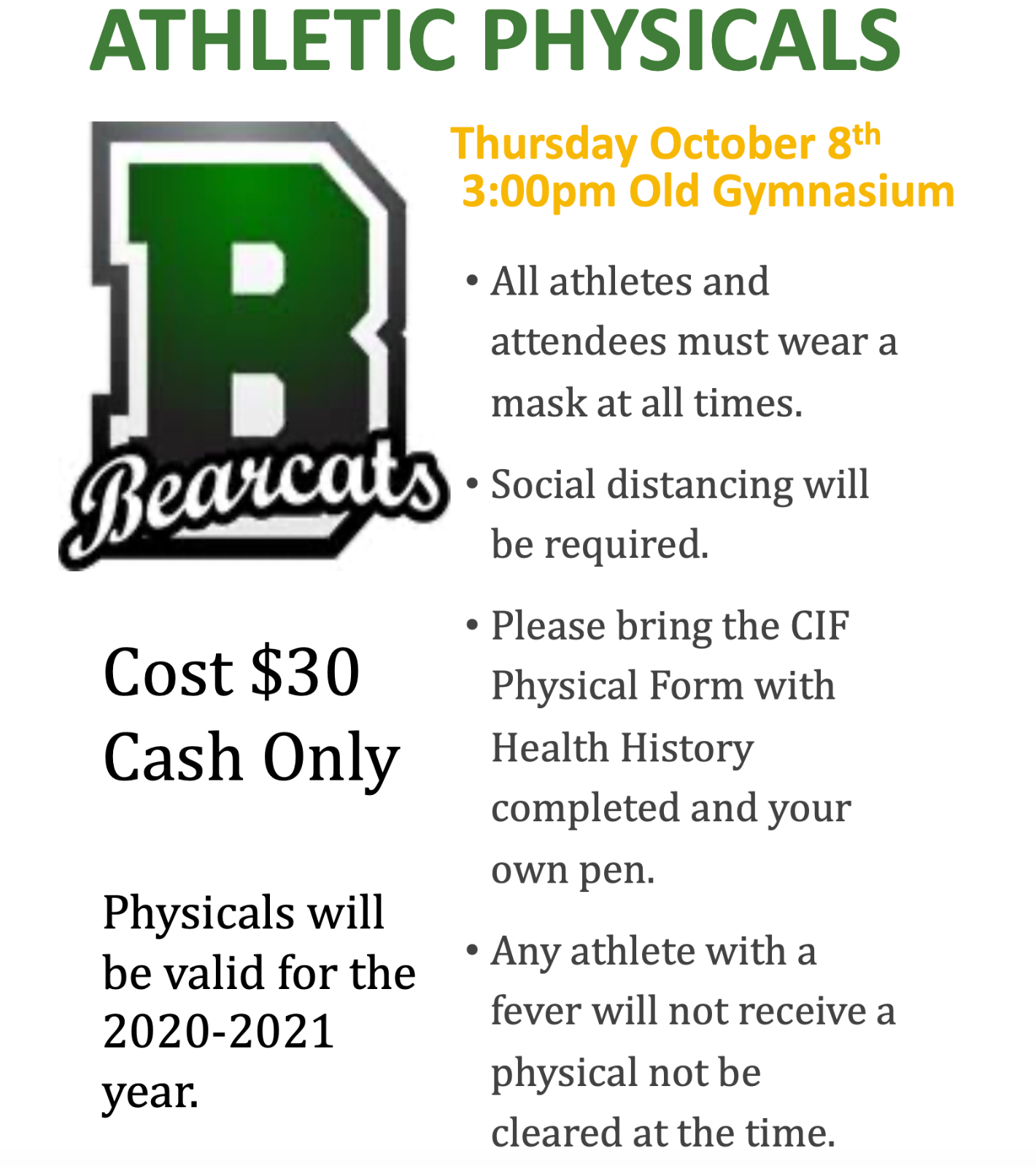 Athletic Physicals October 8th