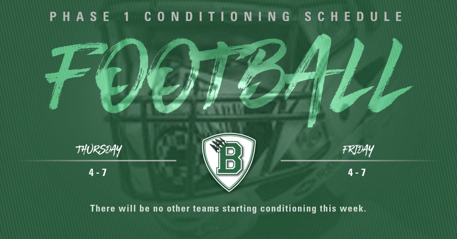 Phase 1 Conditioning Opens This Week