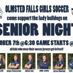Girls Soccer Senior Night- Monday, October 7th