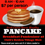 The wrestling team is hosting a pancake breakfast fundraiser on Saturday 4/27 from 8 am – 10 am at Chili's Restaurant in the Belden Village Mall.