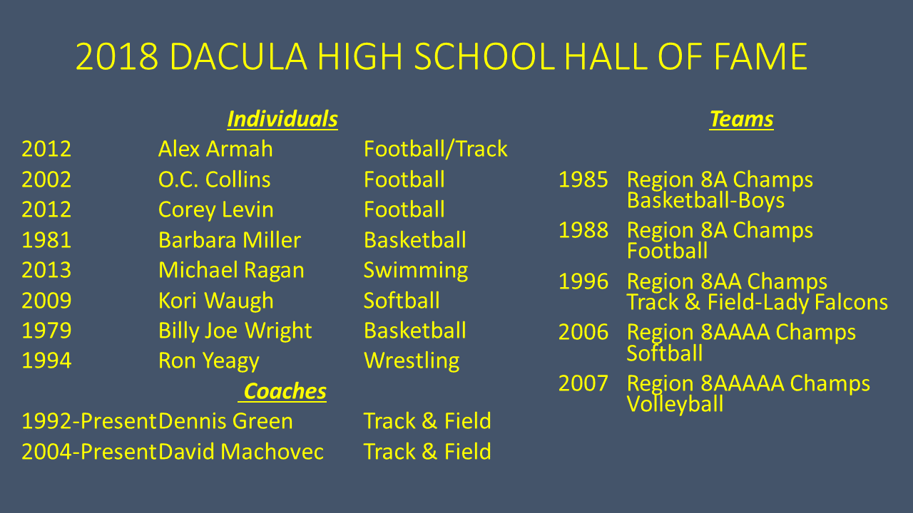 Congratulations 2018 Hall of Fame Inductees