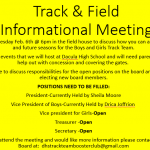 Track and Field Meeting Feb 6th 6pm