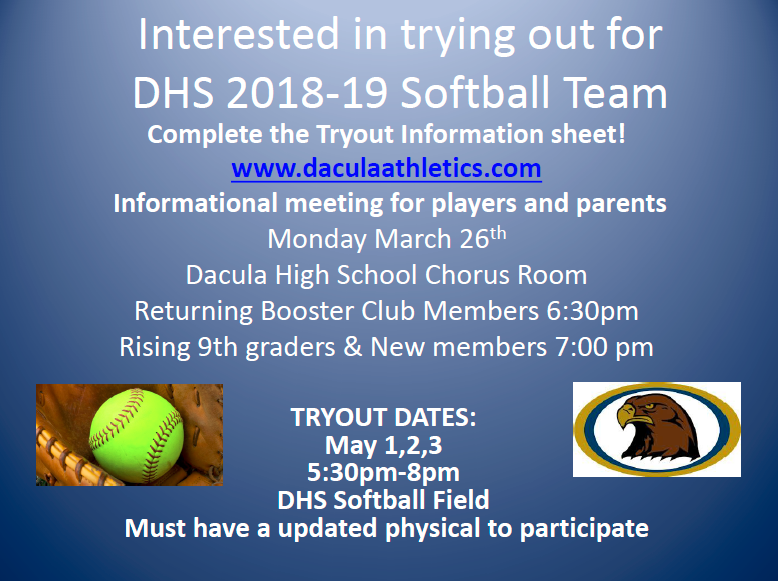 Interested in playing Softball? Parent Player Informational Meeting Monday March 26th