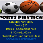 $20 Sports Physicals April 28th 8:30am-11am DHS Commons