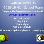 Softball Tryouts May 1-3