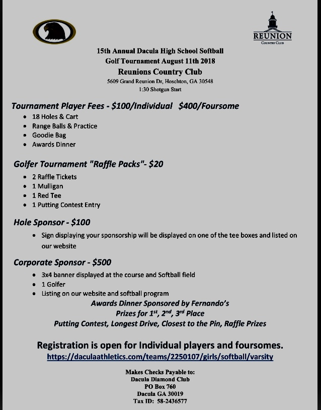 Lady Falcon Softball Golf tournament Aug 11th Register your team today!