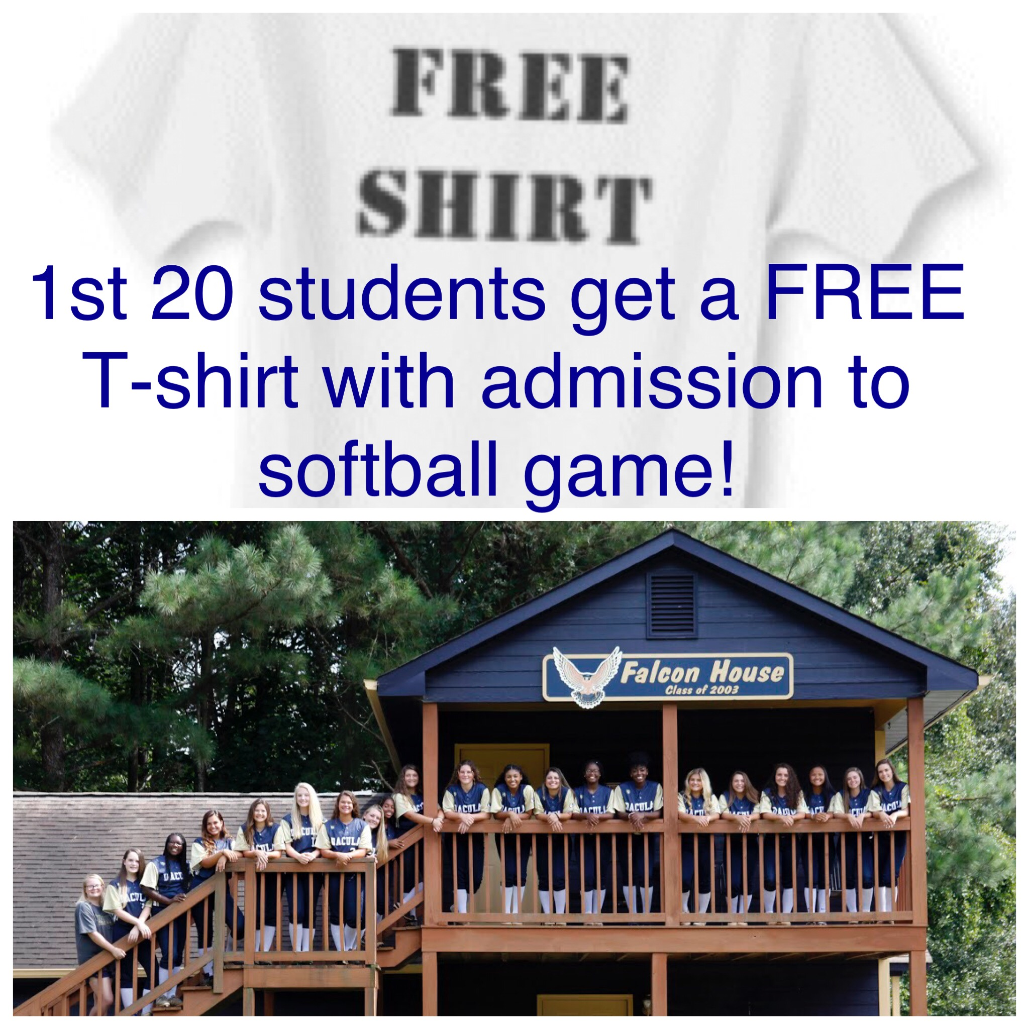 Softball State Playoffs Home this Friday 10/12 3pm and 5pm 1st 20 Students get a FREE T-Shirt!
