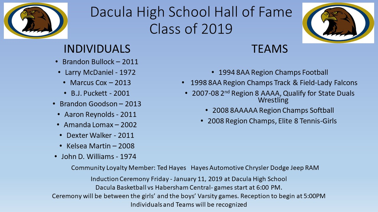 Hall of Fame Induction January 11th!