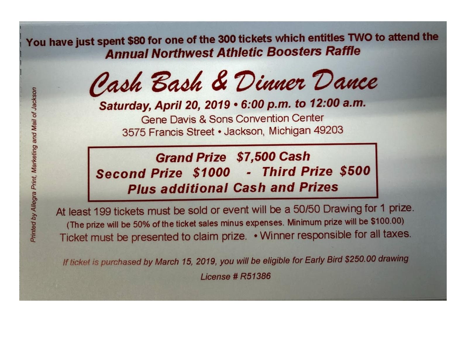 NW Cash Bash – Early Bird Drawing Deadline