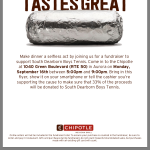 Support Boys Tennis at Chipotle Tonight from 5:00 – 9:00 PM!