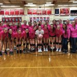 Volleyball wins on Pink Night