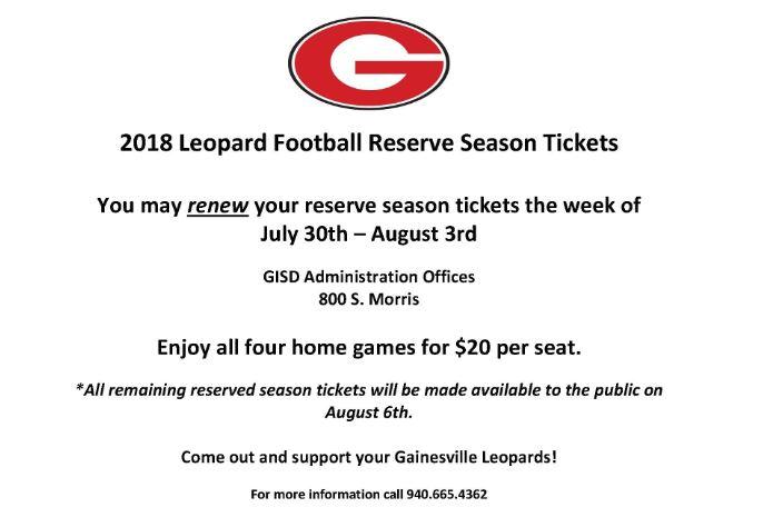 Season Ticket Sales Begin July 30