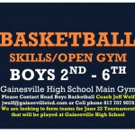 Sunday open gym boys 2nd to HS 4pm to 6pm