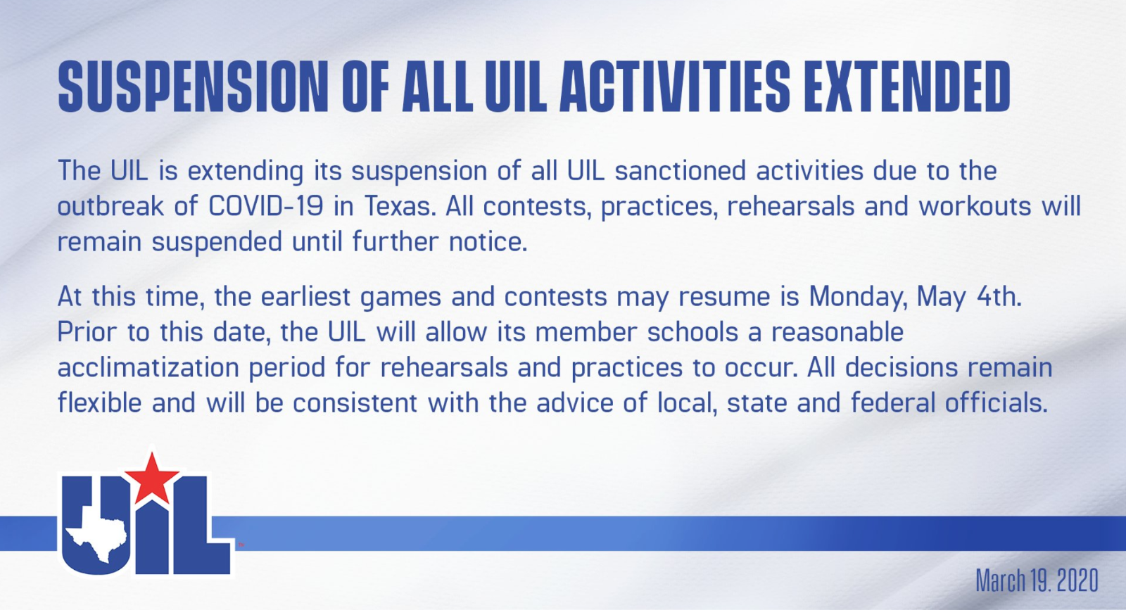 UIL suspends activities through May 3