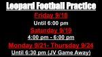 Leopard Football Practice Schedule