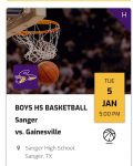 Tickets for HS Boys Basketball @ Sanger Jan 5th 2020