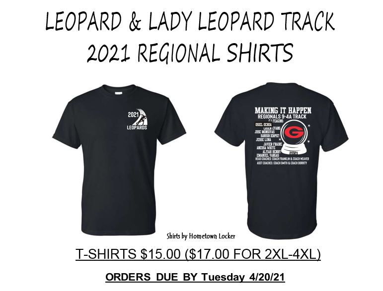 Regional Track Shirt Orders Due 4/20