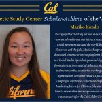 Calrmont Grad – Mariko Kondo named Scholar-Athlete of the Week by UC Berkeley