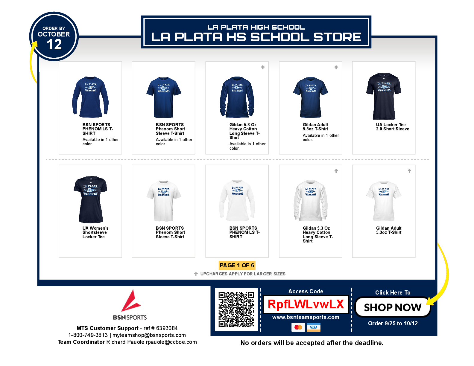 La Plata Spirit Store is OPEN for all of your Warrior Gear!!!