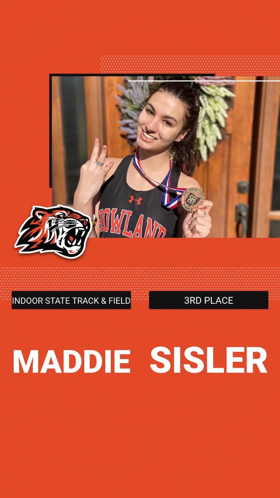 Maddie Sisler takes 3rd in High Jump at Indoor State Meet!