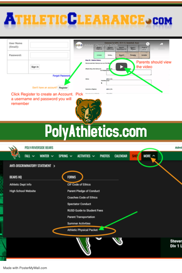 Athletic Clearance online registration for Athletics and Performing Arts