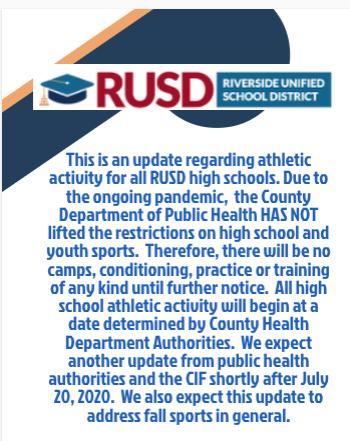 COVID Athletics Update/ Actualización de Atletismo y Actividades de COVID
