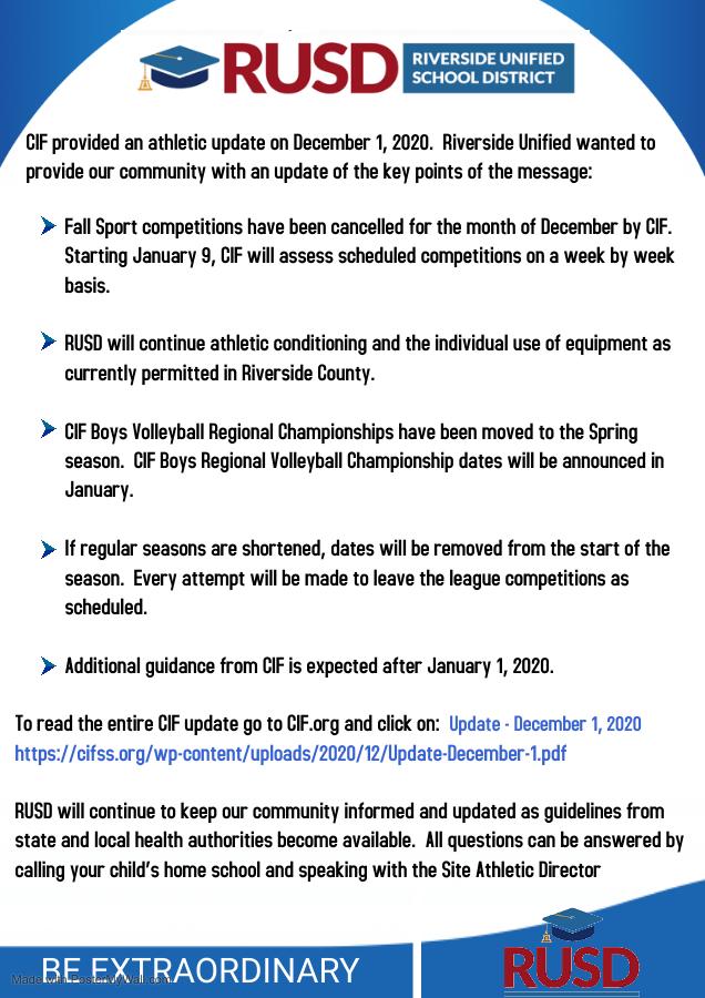 CIFSS Sports December Update