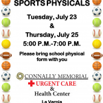 Free Physicals Offered By Connally Memorial Urgent Care & Health Center In La Vernia July 23 And 25