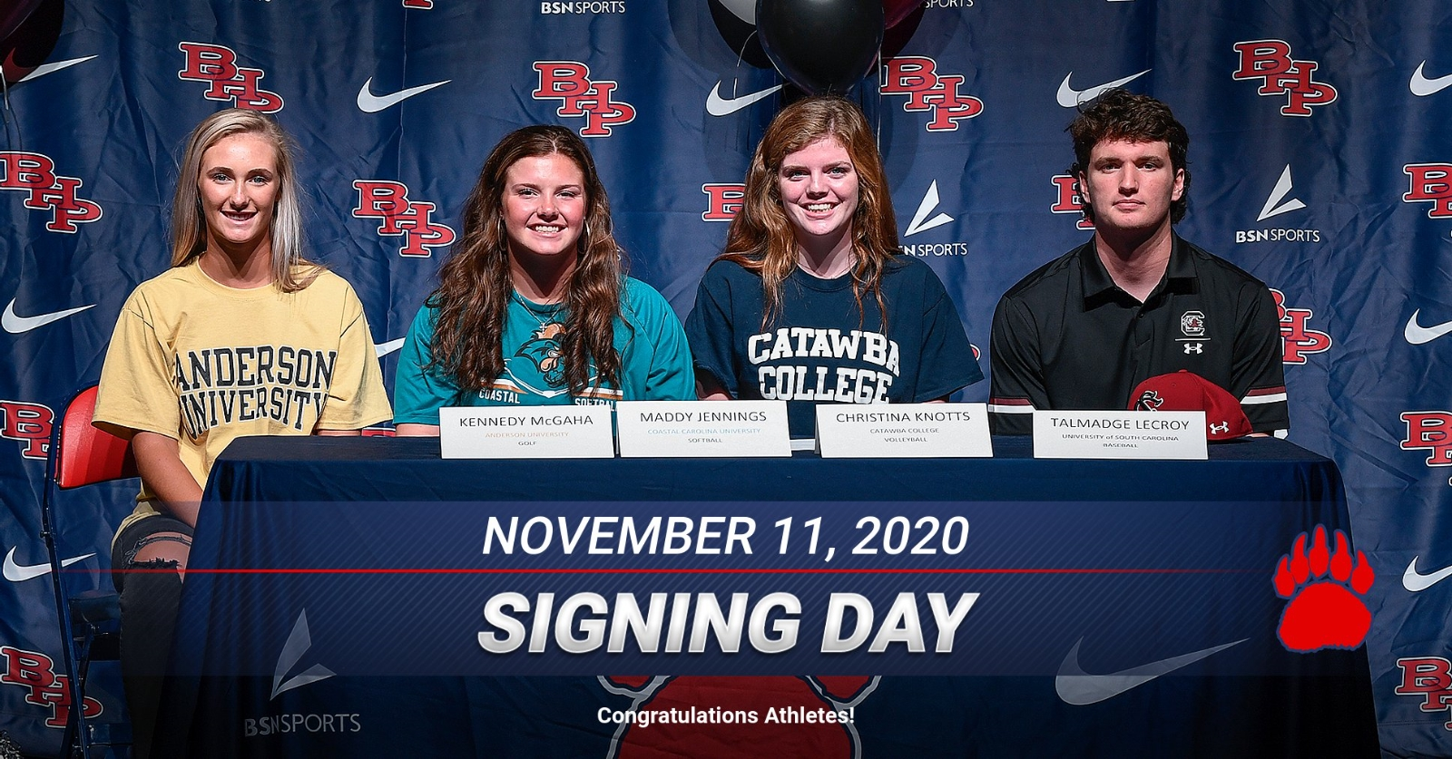 Congratulations to our Athletes who signed their National Letter of Intent today! Go Bears!
