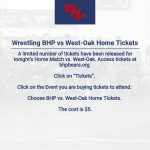 BHP vs. West-Oak Limited number of tickets available.