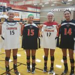 Lady Cavs Volleyball says Thank You Athletic Boosters for new uniforms