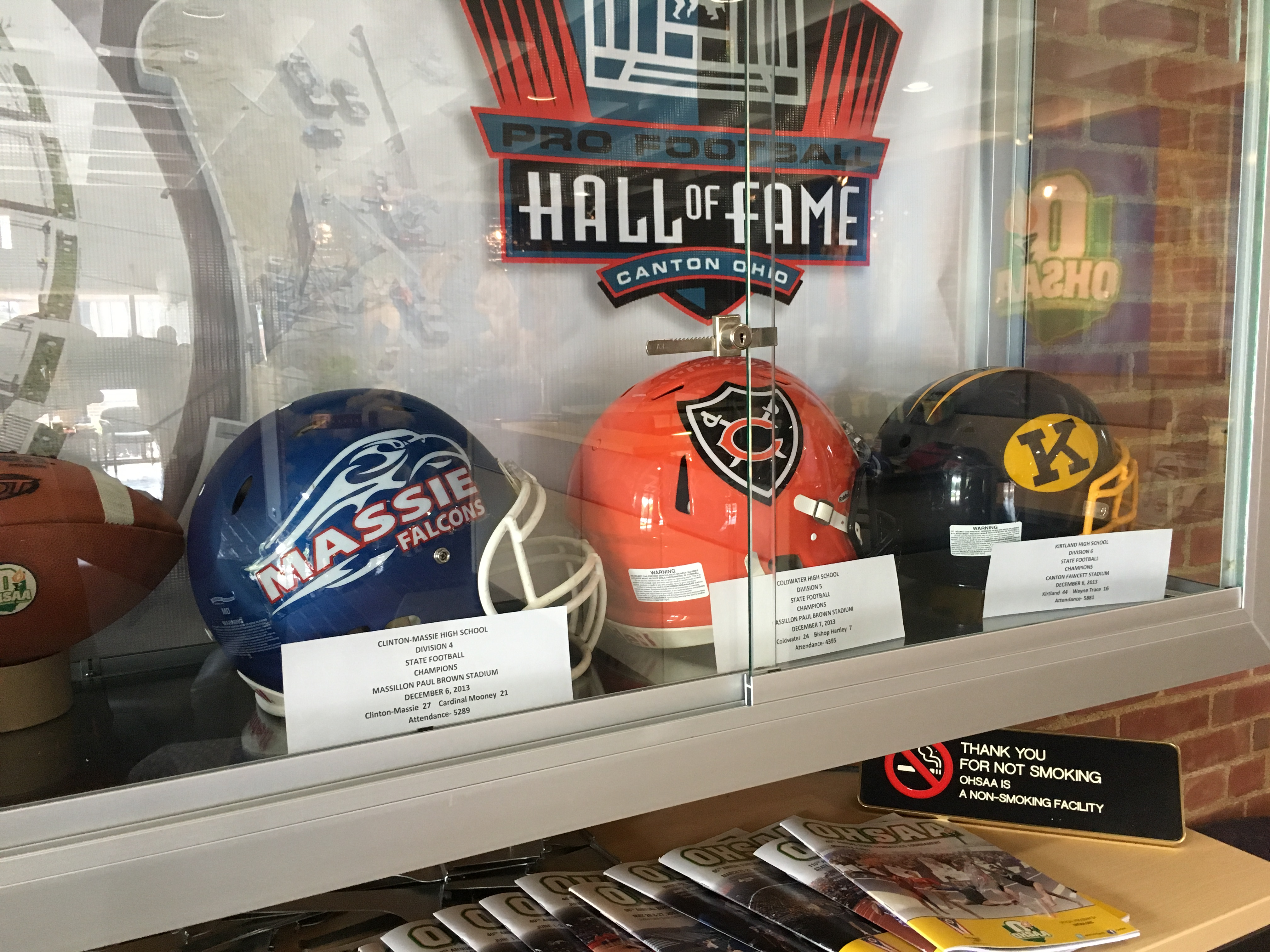Coldwater Football on display at the OHSAA in honor of State Championships at Canton