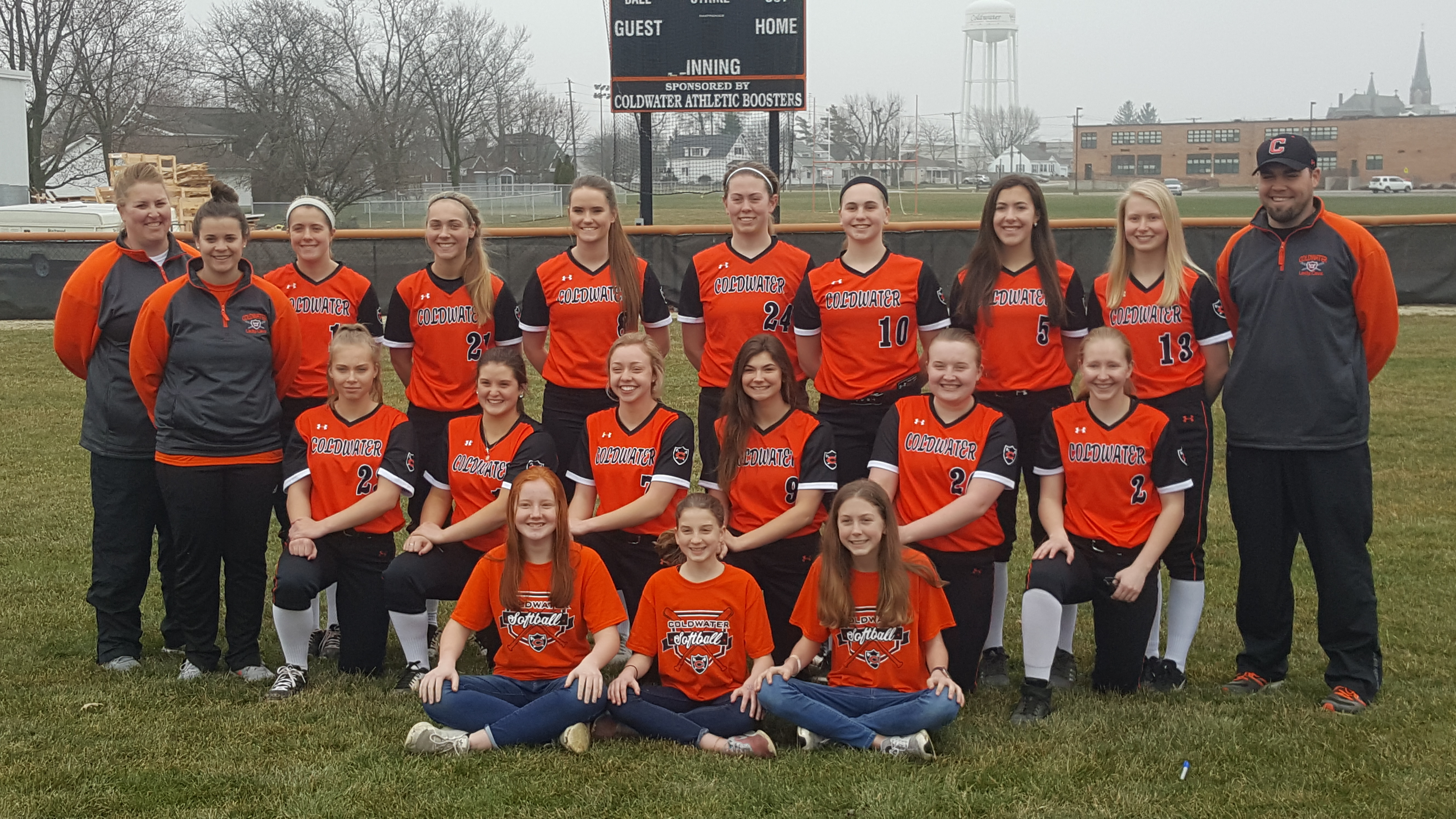 Lady Cavs Softball says Thank You Athletic Boosters for New Uniforms