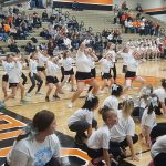 Coldwater Mini Cavs Cheerleaders perform at Lady Cavs Basketball game