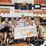 Coldwater Senior Volleyball player Lauren Gilliland collects her 1000th career Kill