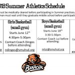 2018 Summer Athletic Workout Schedule