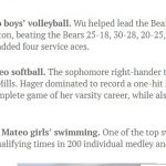 Daily Journal Athletes of the Week: Honor Roll