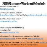 Summer Workout Schedule