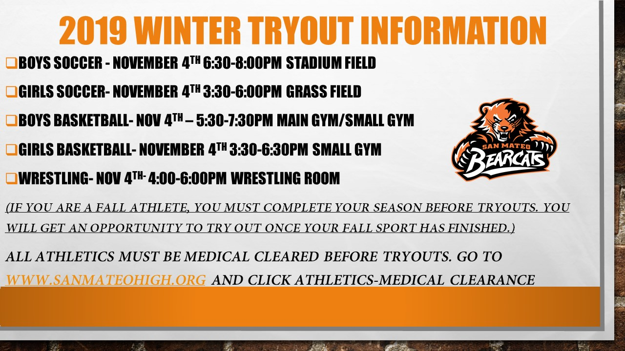 Winter Sports Tryouts start Monday November 4th