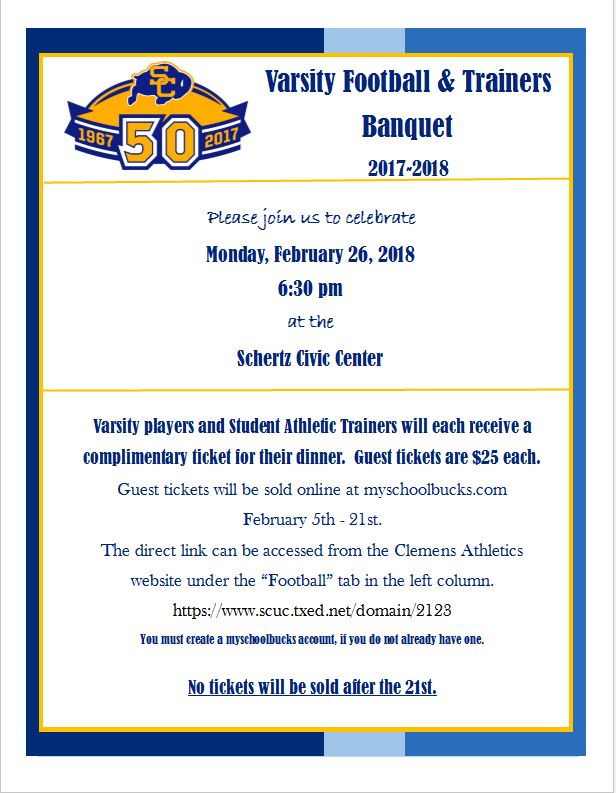 Reminder!  Buy your Varsity Football & Trainers Banquet Tickets Today!