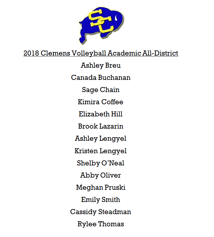 Volleyball Academic All-District – Great job Buffs!