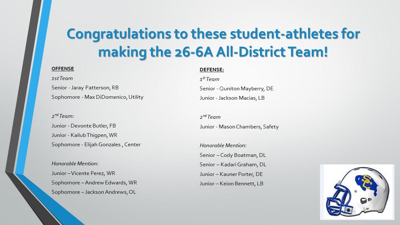 Congratulations!  26-6A All-District Team!