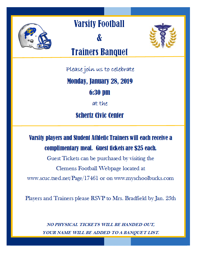 Varsity Football & Trainers Banquet Information